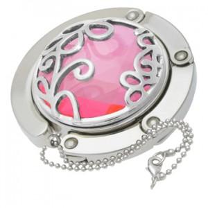 Pink Flower Gilded Handbag Hooks