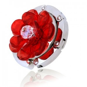 Button Red Rose Handbag Hooks