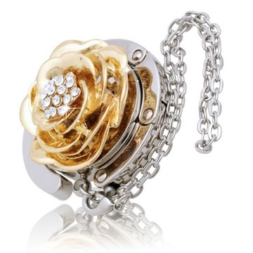 Golden Flower with Diamond Handbag Hook