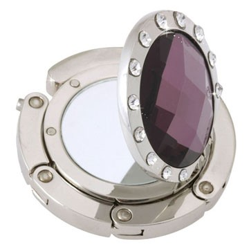 Mirror Purple Crystal Handbag hook