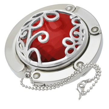 Red Flower Gilded Handbag Hooks