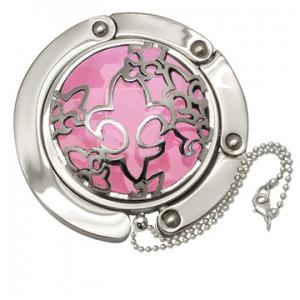Fleur De Li Caged Pink Crystal  Handbag Hooks