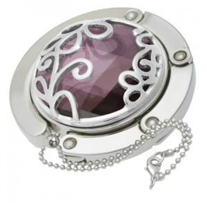 Purple Flower Gilded Handbag Hooks