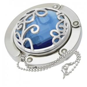 Blue Flower Gilded Handbag Hooks