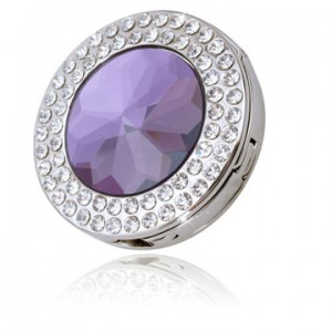Round Sparkling Purple Crystal Handbag Hook