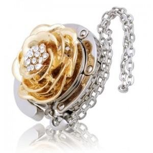 Golden Flower with Diamond Handbag Hook